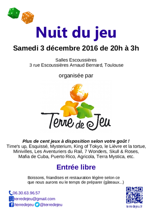 31-Toulouse] Nuit du Jeu samedi 03/12/2016 de 20h à 3h - De la ...